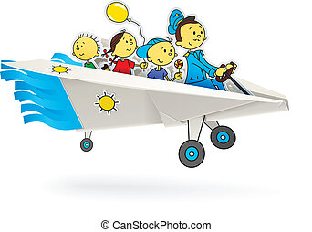 paper airplane with children origami vector illustration...