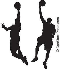 Men  plaing basketball