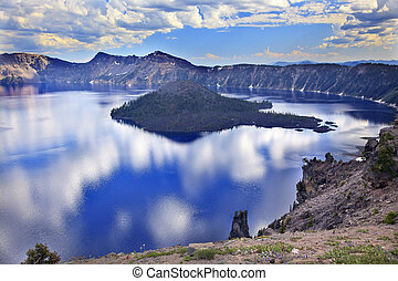 Wizard Island Crater Lake Reflection Clouds Blue Sky Oregon...