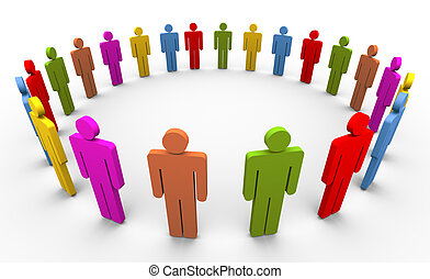 3d people in circle - 3d colorful people forming circle....