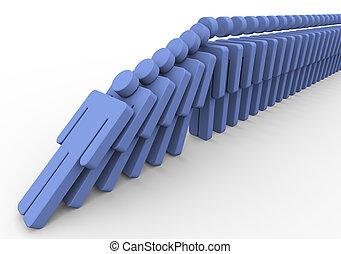3d men domino - 3d render of human domino. Concept of What...