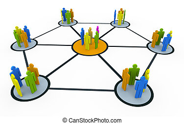 Group network - 3d people group network. Concept of global...