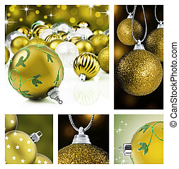 Collage of golden  christmas decor