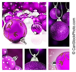 Collage of purple christmas decorations on different...