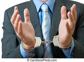 hombre de negocios, debajo, arresto