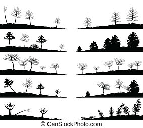 Landscape4 - Set of landscapes of woods A vector...
