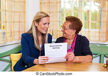 grandchild and grandmother. generation contract