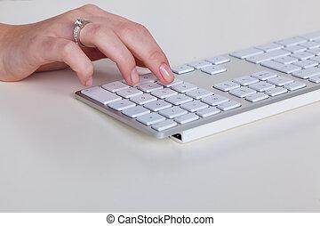 電腦, 手, 鍵盤