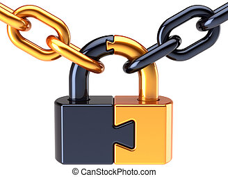 Puzzle lock padlock with chain - Puzzle lock padlock closed...