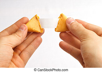 Fortune Cookie Hands Pull - Fortune cookie being pulled...