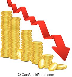 Financial regress concept - Diagram of golden coins and red...