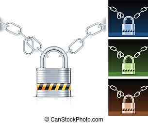 Metal chain and padlock