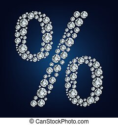 Percent  made from diamonds. vector illustration