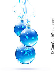 Christmas decorations - illustration of cool blue Christmas...