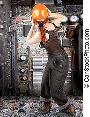 red-haired worker girl - portrait of red haired girl in...