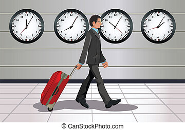 Traveling businessman - A vector illustration of a traveling...