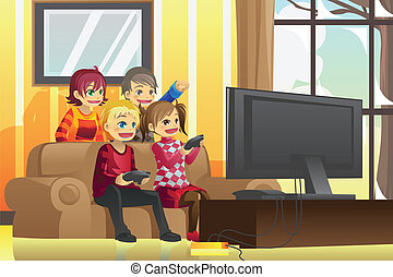 Kids playing video games - A vector illustration of kids...