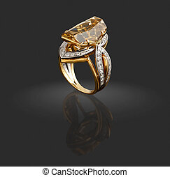 Gold ring with diamonds and gem on grey