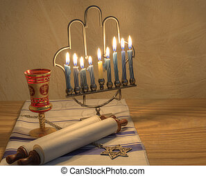 Menorah - A Judaic Hannukah Menorah, and other objects.