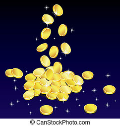 golden coins - vector golden coins with sparkles