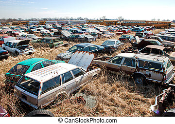 Junk Yard Station Wagons - Old automobile salvage yard...