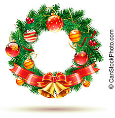 Christmas wreath - illustration of green wreath with red...