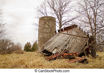 Colapsed Barn Back - Old collapsed barn leaning to one side...