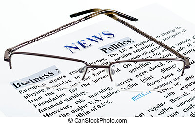 news text - glasses is on the news text as a background