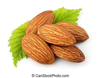 Almonds with green leaves - Almonds with leaves close up on...
