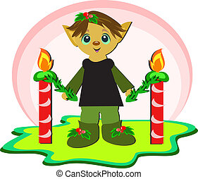 Christmas Elf with Candles