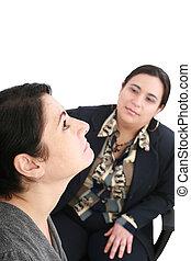 Psicólogo, o, psiquiatra, Escuchar, paciente