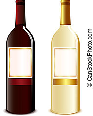 wine bottle - illustration of two wine bottles red and white...