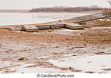 Dock On Drained Lake - Wooden boat dock on a drained lake