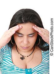 sufrimiento, dolor, -, joven, mujer, dolor de cabeza