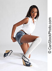 Long legs african american sexy model in shorts - Long...
