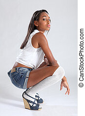 African american fashion model sexy sulky pose