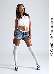 Sexy african american fashion model denim shorts