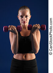 Bicep curl anaerobic exercise young fitness woman -...