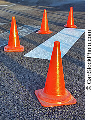 Traffic Cones - Red Traffic Cones used to inform about a...