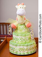 Diaper Cake Neutral - Green and yellow gender neutral diaper...