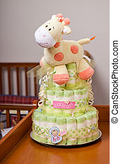 Diaper Cake Girl - Green diaper cake for girl with yellow...