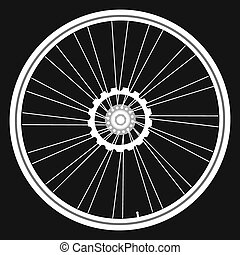 Bicycle wheels isolated black card - vector white Bicycle...