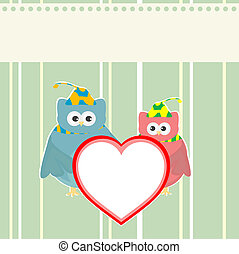 owl holding red love heart card