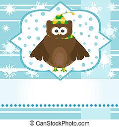 cute owl winter greetings card