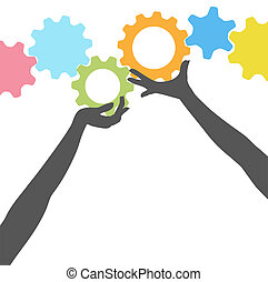 People hands hold up technology gears - Female silhouette...