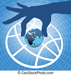 Hand holding Earth over globe symbol background - Person...