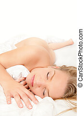 Naked young woman sleeping - Beautiful naked young blond...