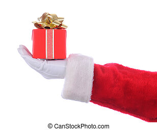 Santa with red Present - Santa Claus outstretched arm...