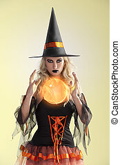 orange witch with orange crystal ball - very sexy and...