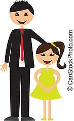 father and daughter cartoon isolated over white background....
